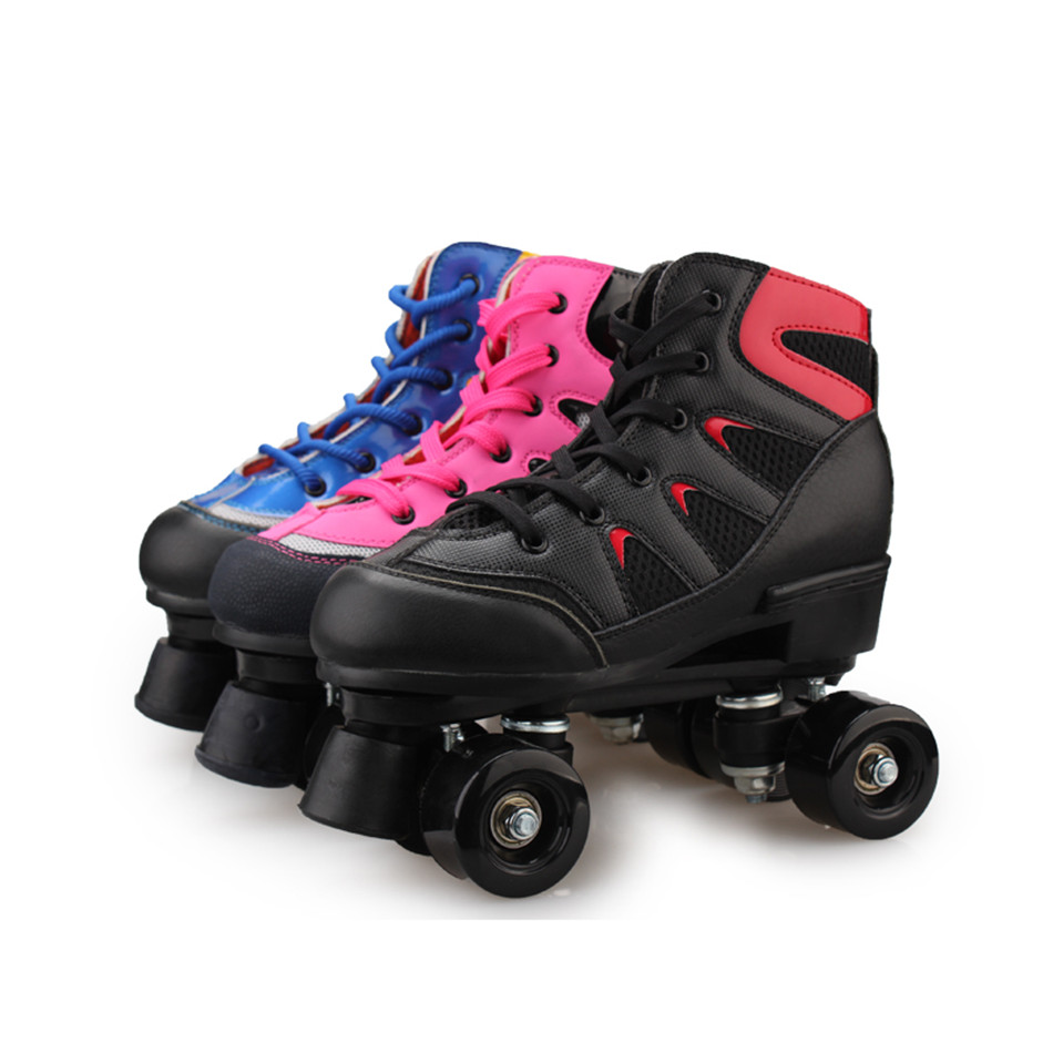 Roller skating shoes buy online - Reniaever Roller Skates Double Line Skates Mesh Surface Women Lady Adult With Black Pu 4 Wheels