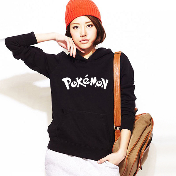 Womens Pokemon Letter Logo Print Hoodie Women Fall Winter Printed Hooded Clothes Fleece Hoodies and Sweatshirts Japanese Anime(China (Mainland))