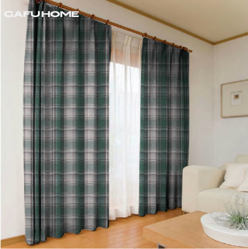 brief rustic polyester cotton blending large plaid curtain green red