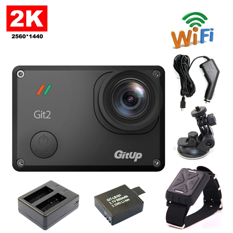 Free shipping!! GitUp Git2 WiFi 2K Sports Action Camera+Remote Control+Extra 1pcs Battery+Battery Charger+Car Charger+Car Holder(China (Mainland))