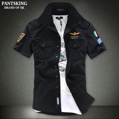 New arrival 2014 casual Fashion airforce uniform military slim fit men short sleeve shirts men s