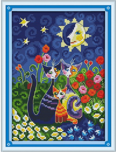 Cats and The Sun Counted Cross Stitch DMC color DIY 11CT 14CT 18CT cotton silk multi picture Handmade Embroidery Needlework plus(China (Mainland))