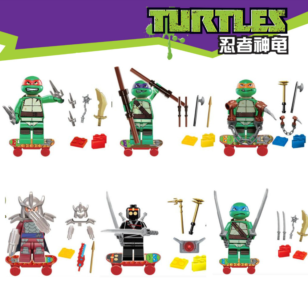 TMNT Teenage Mutant Ninja Turtles Leonardo Donatello Raphael Michelangelo Skateboard Blocks Minifigures Kids Toys Gift - LEG0 TOYS store