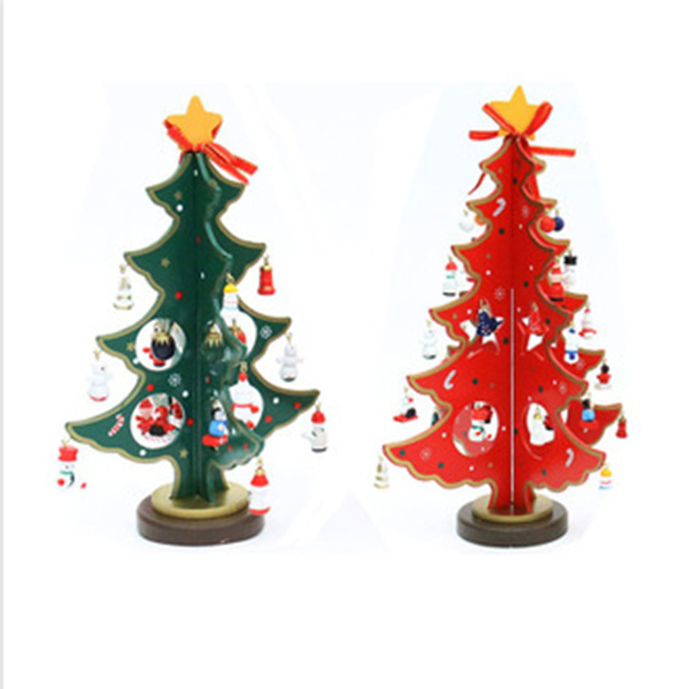 Small wooden christmas tree ornaments - Free Shipping Mini Wooden Christmas Tree With 16 Small Ornament Snowman Bell Christmas Table Decor