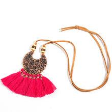 Statement necklace Bohemian ethnic long tassel fringed choker necklace Big round circle pendant necklace kolye wooden beads gift(China)