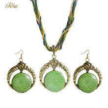 F & U Vintage bijoux ensemble rétro bohême ronde Style multicouches perles chaîne résine pierre pendentif collier et boucles d'oreilles pour femme(China)