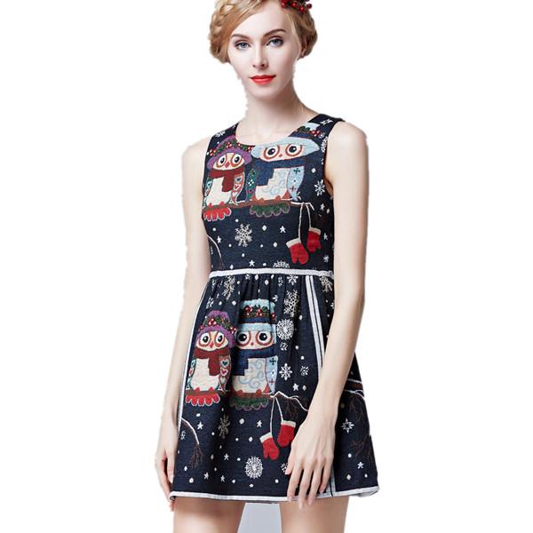 New women sleeveless christmas dress vintage retro cute owl dresses