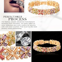 Free Shipping Real 18K Gold Plated Zircon Bracelet Fantasy Sexy Luxury Bangle With Swiss Cubic Zirconal