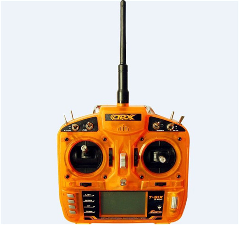 Full Range 2.4GHz 6 CH Orange Remote Control,Transmitter W Receiver Surpass DX6i JR FUTABA Radio for Helicopters,Quadcopters