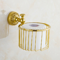 Free Shipping Wholesale And Retail Wall Mounted Solid Brass Bathroom Storage Basket Golden Toilet Paper Holder