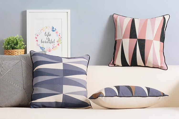 Nordic Modern Simple pillow fresh geometric cushion Linen pillowcase sofa cushions home decorative Pillows