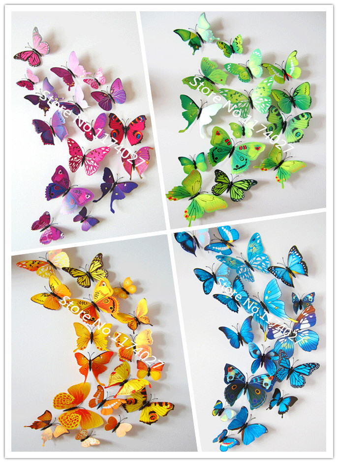 Free shipping 12pcs pvc 3d butterfly wall stickers home for Butterfly wall mural stickers