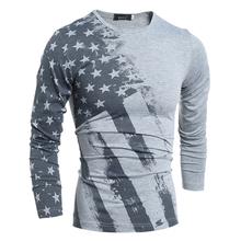2016 Spring Fashion T-Shirt Long Sleeve T Shirt USA American Flag Printed T-shirts Fall Men Tshirt Fitness Camiseta