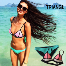 Triangl Bikini push up fashion sexy Beachwear neoprene triangle swimwear bikini 2015 biquini(China (Mainland))