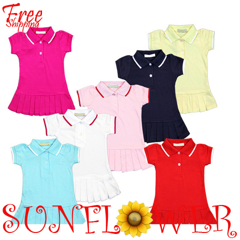 wholesale brand dress 2013 children girls short sleeve pink tennis Summer cotton dresses 7 colors mix order free shipping