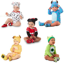 2016 Cute Cartoon Animal Baby Cotton Long Sleeve Rompers + Hat Suit Unisex Baby Boys Girls Toddler Newborn Jumpsuit Clothes Set