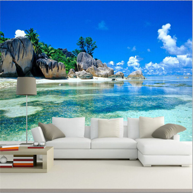 Paradise Ocean Sea Beach Custom Mural Wallpaper
