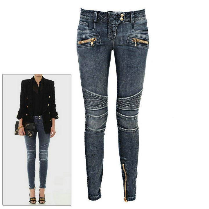 Korean women models Slim jeans zipper modified Balm&in washed trouser female motorcycle - Magpie no.8 store