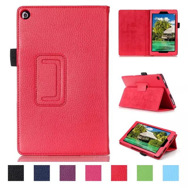 2015 Lichee Pattern Flip Folio PU Leather Case Cover for Amazon Kindle New Fire HD 10 2015 Edtion Book Cases 7 Colors(China (Mainland))
