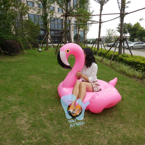 Factory Supply 60 Inch 1.5m Inflatable Pink Flamingo Pool Floats Ridable Swim Pool Float Water Toy Swim Rings Air Rafts(China (Mainland))
