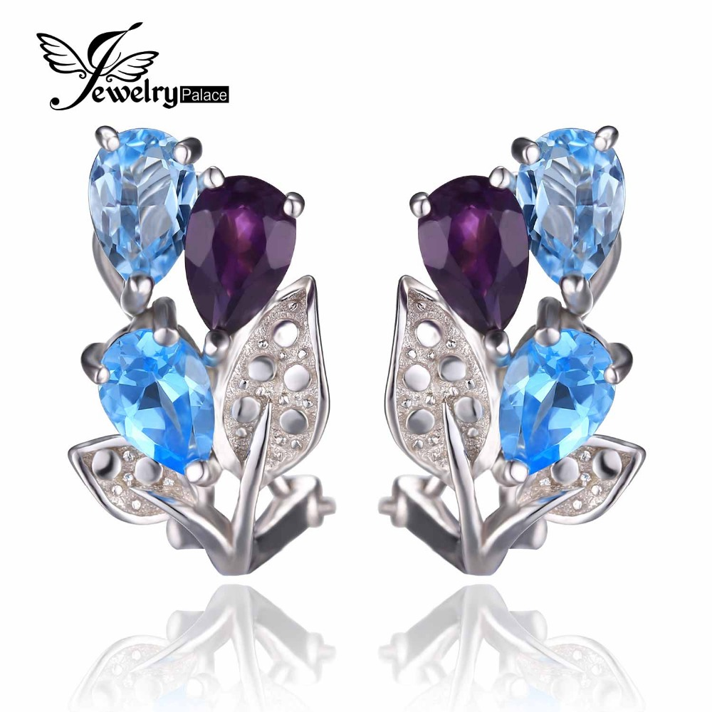 Brand New 2.7ct Natural Amethyst Sky Blue Topaz Earrings Clip Pure 925 Sterling Solid Silver Fashion Vintage Jewelry For Women(China (Mainland))
