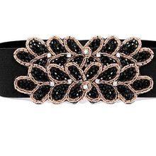 The new diamond beaded belt female models fashion lady leaves decorative elastic girdle crony black woman # 1839402(China (Mainland))