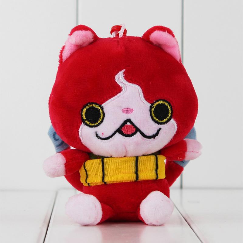 11cm Cute Japanese Anime Youkai Watch Jibanyan Red Cat Stuffed Animals Plush Keychain Toy Soft Pendant Doll Gift for KIds(China (Mainland))