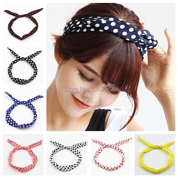 Girls Rabbit Bunny Ear Bow Big Polka Dots Hair Band Chiffon Wire Headband Hair Scarf MF48(China (Mainland))