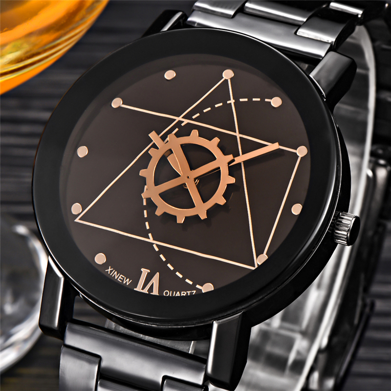 New Design Women Watches Gear Constellations Black Silver Full Steel Quartz Wrist Watch Ladies Clock Gifts relogios feminino(China (Mainland))