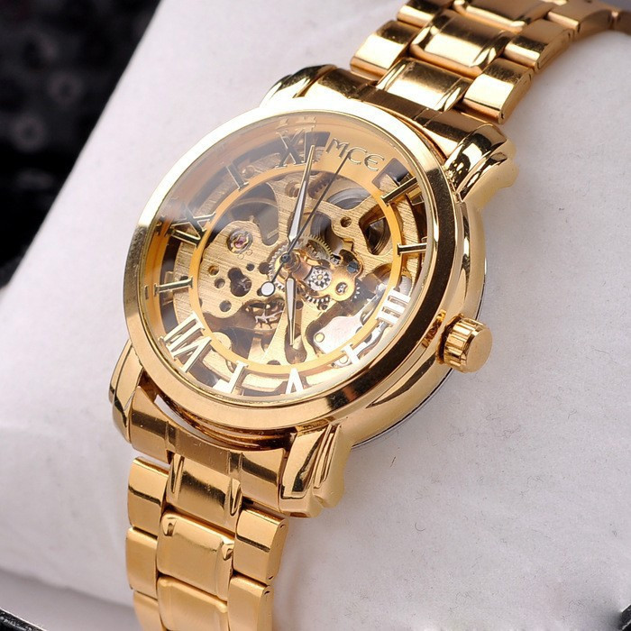 New 2015 Hot Hollow Gold Watch Self-wind Automatic Watch Famous MCE Relogios Stainless Steel Band Watches Luxury Men Wristwatch