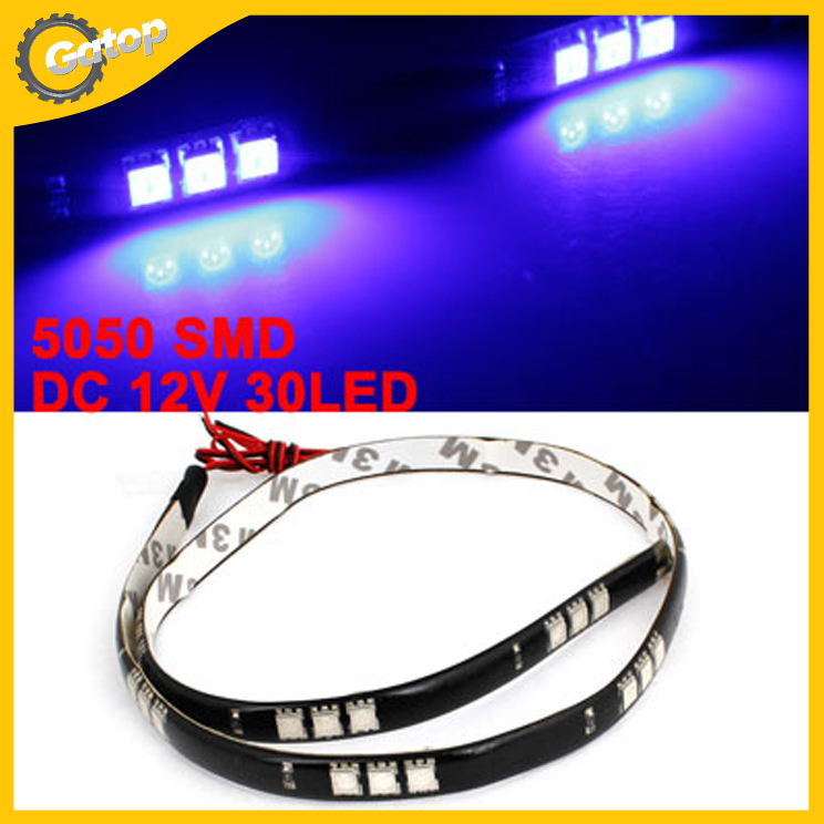 60cm blue 30 led 5050 smd adhesive back light strip sticker decor for vehicle auto free shipping. Black Bedroom Furniture Sets. Home Design Ideas