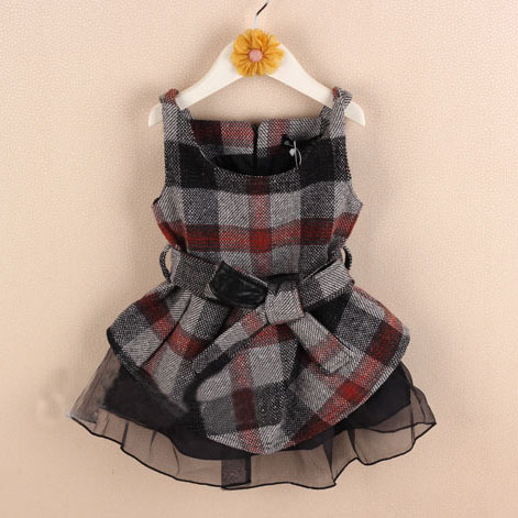 whoelsale(5sets/lot) - 2016 autumn winter plaid lace sleeveless dress shorts clothes set 2-7 child girl guangdong humen costume Factory store