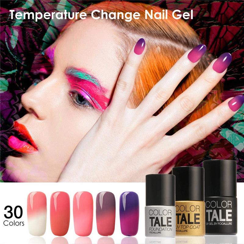 FOCALLURE Led Gel UV Color Temperature Changing Gel Nail Polish Long-lasting Nail Gel 30 Colors