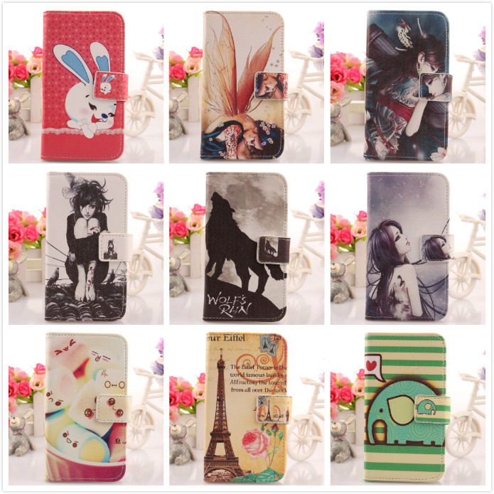 Cute Flip Painted Design PU Leather Moblie Phone Cover Protection Accessories Skin Case For ZTE Skate V960 Dropshippingg(China (Mainland))