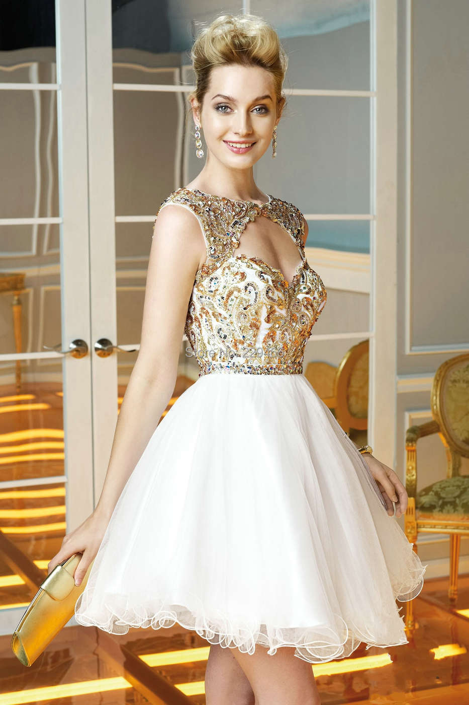 Vestidos De Formatura White Sweetheart Gold Sequin Cap Sleeve
