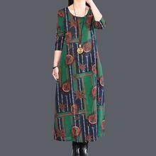 new fashion cotton linen vintage print women casual loose long spring autumn dress vestidos femininos 2017 dresses(China)