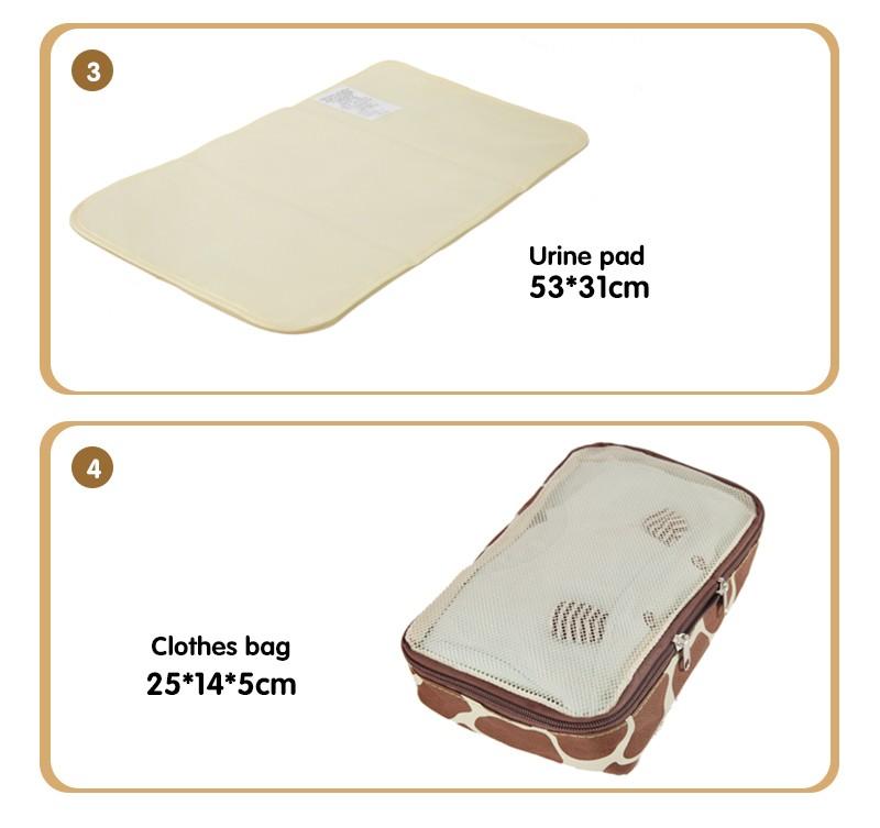 Newest 10 PCS/SET Multifunctional Cartoon Baby Diaper Bag Outdoor Portable Nappy Bag Handbag Baby Stroller Bag Giraffe Pattern