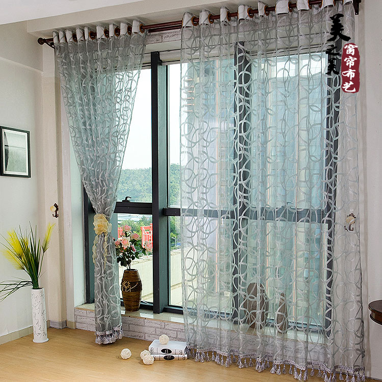 Free Shipping Curtain Jacquard Window Screen Translucidus Shalian Curtain living room curtain Ready Made Curtain(China (Mainland))