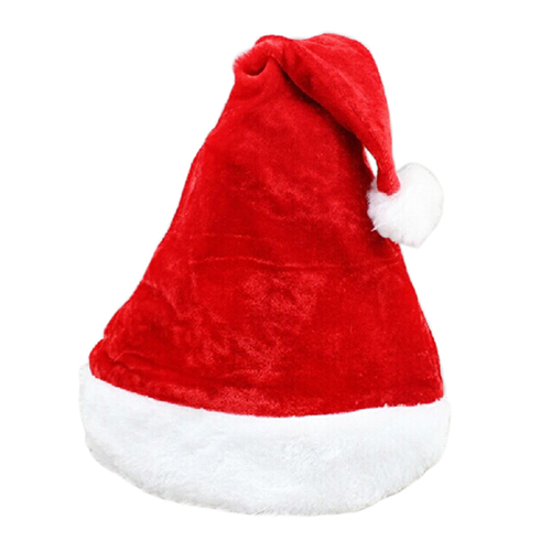 Hot sales Father Christmas Hat Xmas Party Costume Santa Claus Adult Headgear Plush Cap Red Santa Christmas Hat Christmas Bonnet(China (Mainland))