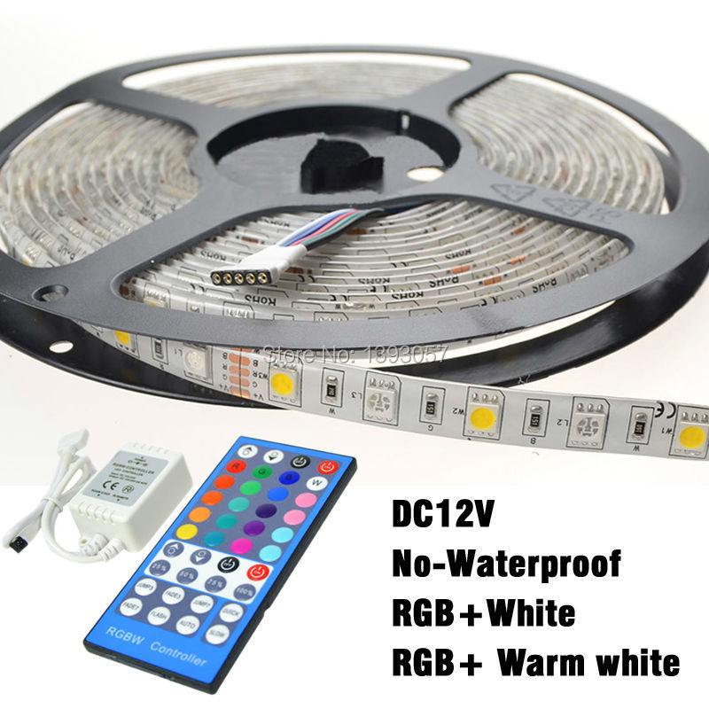 SMD 5050 RGBW Led Strip dc12v 60 leds/m No-waterproof Flexible Light Strip RGB+White Color/RGB+Warm White Color with Controller(China (Mainland))