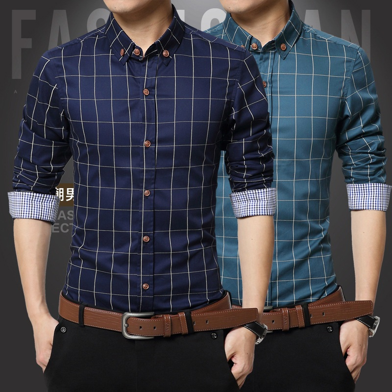 5xl 100 cotton 2015 mens dress shirts male clothes social for Mens slim fit flannel shirt