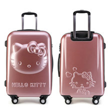 Girls Hello Kitty Trolley Suitcase 3D Cartoon Luggage Bag Women Hard Shell 24 inch Rolling - Lzahua Bags Store store
