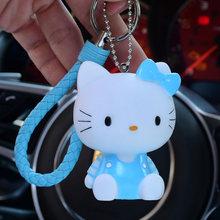 Bonito Olá Kitty Keychain Chave Saco Cadeia de Corda de Couro Das Mulheres De Pele Charme Bola Pom Pom Chave Anel Chave Do Carro Cadeias titular Pingente(China)