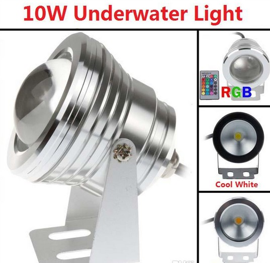 10W RGB Flood light Underwater led aquarium lamp swimming pool Waterproof IP65 DC 12V 110V 220V Convex Lens Free Shipping(China (Mainland))