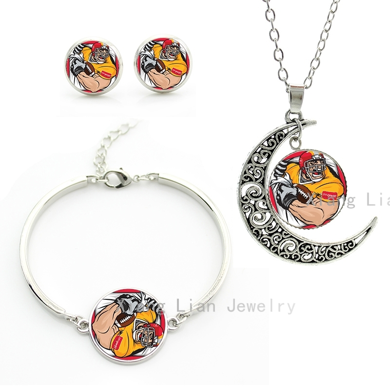 Cool anime cartoon style american football player jewelry lovely interesting rugby sports necklace earrings bracelet set NF042(China (Mainland))