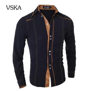 Мужчины рубашку 2015 мода бренд мужской двойные кнопку мужчины рубашку с длинными рукавами, Camisa Masculina свободного покроя тонкий сорочка Homme XXL DNVKD