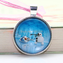 20pcs lot girl Frozen pendant necklace glass cabochon Ribbon Charm statement necklace jewelry for kids gifts