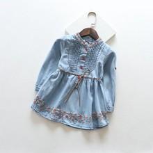 Wholesale Free ship 2016 New Spring Summer Girls Kids Children Flower Wash Blue Denim embroidery Jean Casual Dress Waistband(China (Mainland))