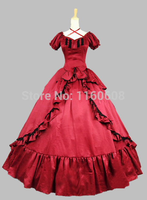 Burgundy Satin Victorian Southern Belle Dress Prom Gown Stage Ball GownОдежда и ак�е��уары<br><br><br>Aliexpress