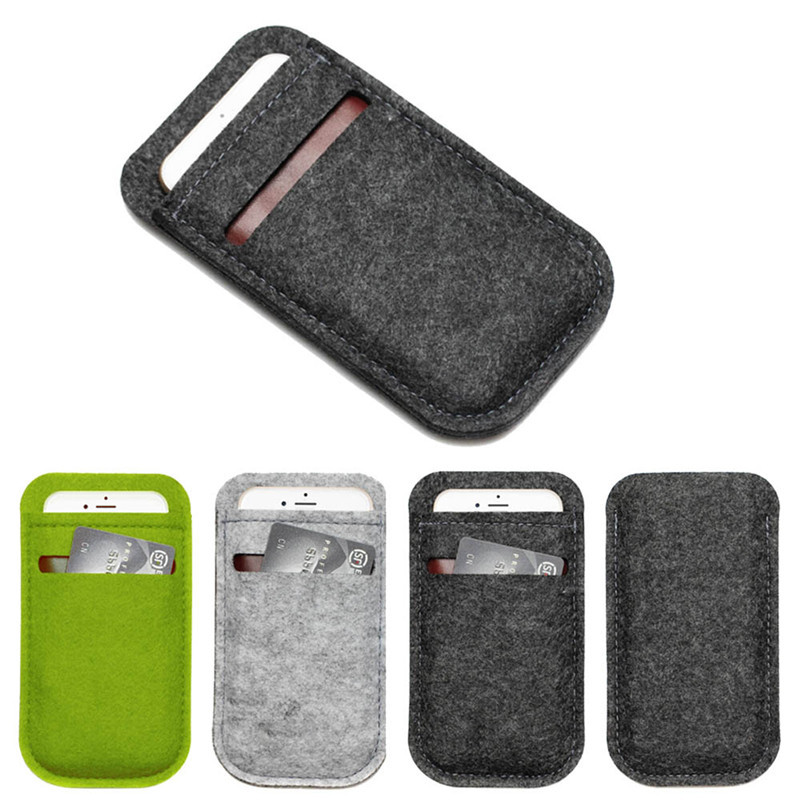 Mobile Phone Bags Case Cover Wool Felt Wallet phone bag For iPhone 6 Plus 5.5 inch For Samsung Note 3 4 case(China (Mainland))
